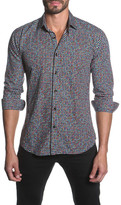 Jared Lang Houndstooth Long Sleeve Semi-Fitted Shirt