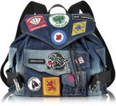 DSQUARED2 Blue Washed Denim Backpack w/Patches