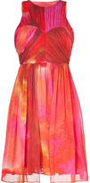 Matthew Williamson Pink-Multi Pleated Silk Chiffon Dress