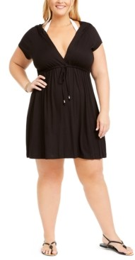 Dotti Plus Size Resort Solids Hoodie Cover-Up Women's Swimsuit