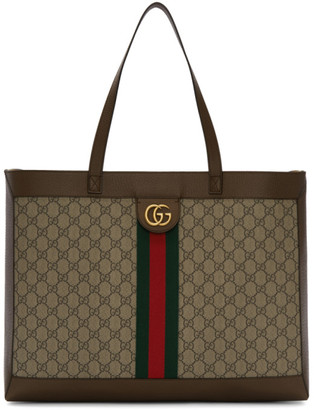 Gucci Brown and Beige GG Ophidia Tote