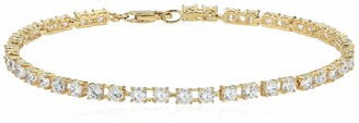 Amazon Essentials Yellow Gold Plated Sterling Silver Round Cut Cubic Zirconia Tennis Bracelet (3mm) 7.25