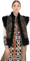 Etro Embroidered Shearling & Wool Vest