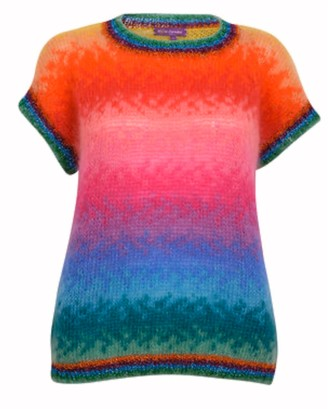 Rose Carmine Rainbow Short Sleeve Knit - One Size
