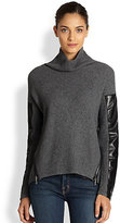 Milly Leather-Panel Sweater