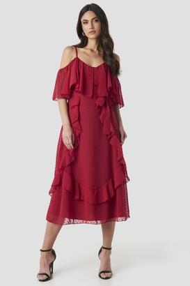 Trendyol Flywheel Detailed Midi Dress Red