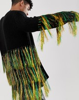 Asos Design DESIGN knitted oversized cardigan with neon tassels in black