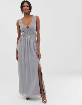 Little Mistress pleated maxi dress with lace detail-Grey