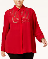 Poetic Justice Trendy Plus Size Studded Blouse