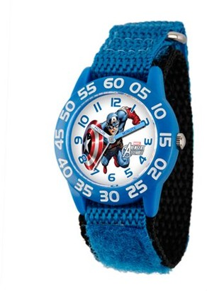 Marvel Captain America Boys' Plastic Case Watch, Blue Nylon Strap