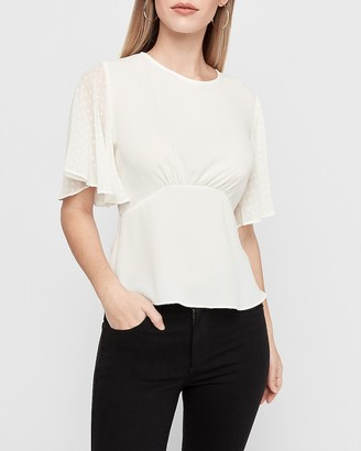 Express Clip Dot Sleeve Empire Waist Top