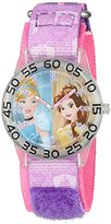 Disney Girl's 'Cinderella' Quartz Plastic and Nylon Watch, Color:Purple (Model: W002945)