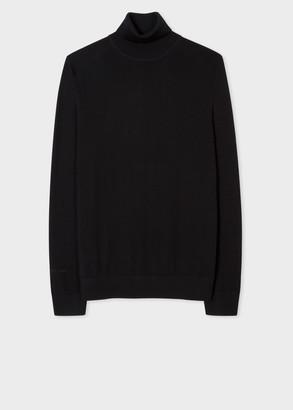 Men's Black Merino Roll-Neck Sweater With 'Signature Stripe' Trim