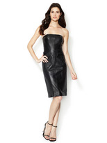 Strapless Leather Piped Dress