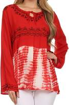Sakkas T3249 - Carla Tie Dye Embroidered Tunic Top / Blouse - OS