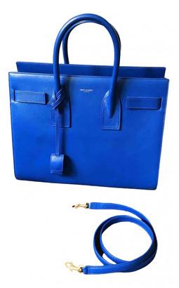 Saint Laurent Sac de Jour Blue Leather Handbags
