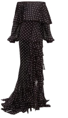 Balmain Polka-dot Off-the-shoulder Ruffled Silk Dress - Womens - Black White