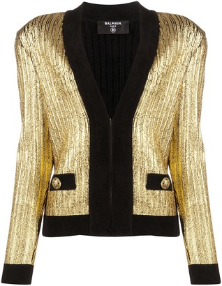 Balmain Gold Cropped Cardigan