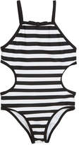 Kate Spade Striped Cutout-Sides One-Piece Swimsuit, Size 7-14