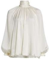 Zimmermann Gathered Bow Silk Blouse