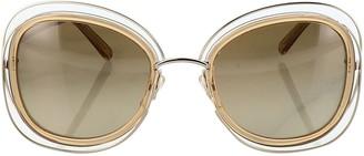 Chloã© ChloA Carlina Beige Metal Sunglasses