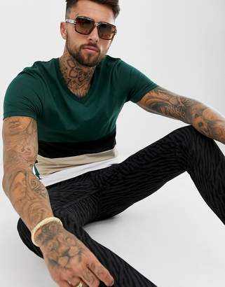 Asos Design DESIGN skinny t-shirt with deep v-neck and colour block in green