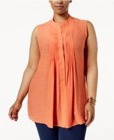 Alfani Plus Size Pintucked Tunic, Created for Macy's