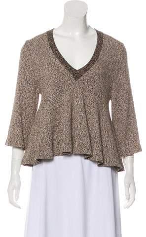 3-4 Sleeve V-Neck Sweater