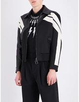 Neil Barrett Panelled leather and satin jacket