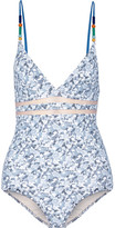 Stella McCartney Beaded Mesh-trimmed Printed Swimsuit - Light blue