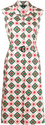 Aspesi Geometric-Print Belted Dress