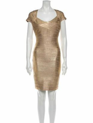 Herve Leger Tejana Mini Dress Gold