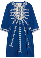 Figue Sophie Embellished Cotton Mini Dress - Blue