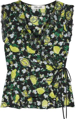 Diane von Furstenberg Ruffle-trimmed Printed Silk Crepe De Chine And Georgette Wrap Top