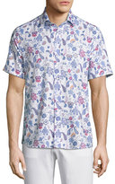 Etro Paisley Short-Sleeve Sport Shirt, White/Blue