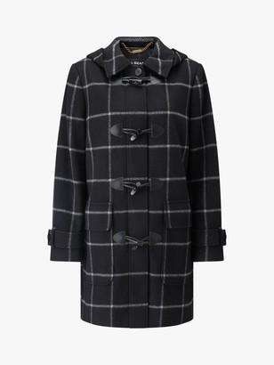 Four Seasons Check Duffle Coat, Black