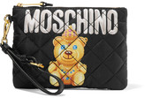 Moschino Quilted Printed Shell Pouch - Black