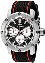 TW Steel Men's TS2 Stainless Steel Watch with Black Silicone Band