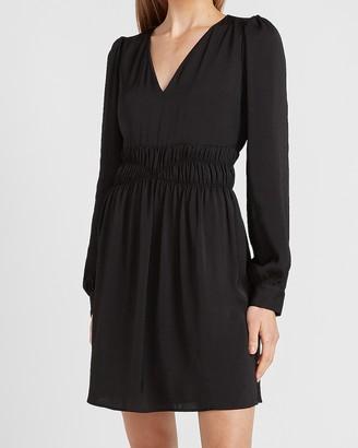 Express Satin Smocked Waist Long Sleeve Dress