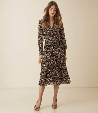 Reiss Lita - Twist Front Ditsy Printed Dress in Multi