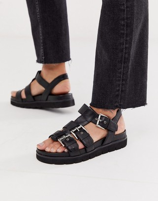 Office Sabrina black leather flat buckle sandals