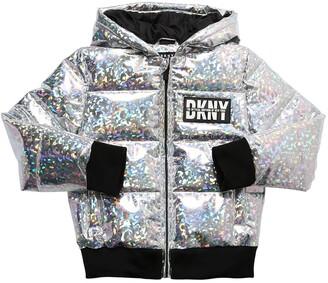 DKNY Metallic Nylon Puffer Jacket