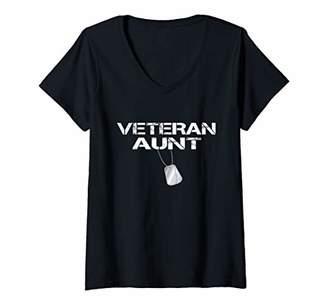 Womens Veteran Aunt Gift Shirt for Veterans Day V-Neck T-Shirt