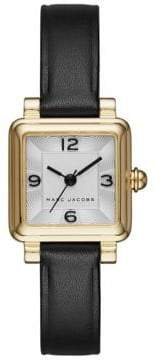 Marc Jacobs Vic Goldtone Stainless Steel and Leather Three-Hand Strap Watch