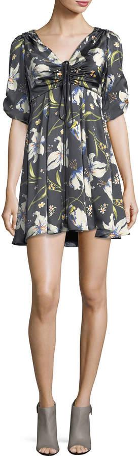 Cinq à Sept Anders Floral-Print Ruched Satin Dress