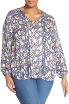 Lucky Brand Painted Floral Print Peasant Blouse (Plus Size)