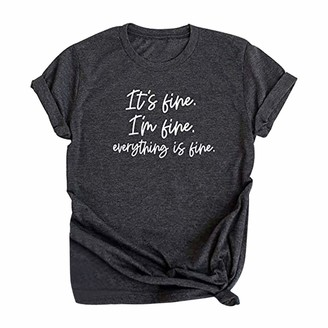 Beetlenew Womens Blouses Women's T-Shirts Its Fine Its Fine Everything is Fine Slogan T-Shirt Funny Letter Print Tops Soft Comfy Yoga Shirts Casual Loose Basic Short Sleeve Tees Summer Daily Home Wear Dark Gray