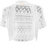 kfs collection Girls Crochet Bolero Shrug Kids Knitted Short Sleeve Cardigan