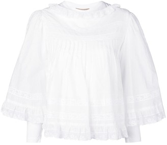 Burberry Lace Detail Ruffle Cape Overlay Top