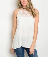White Lace-Yoke Top